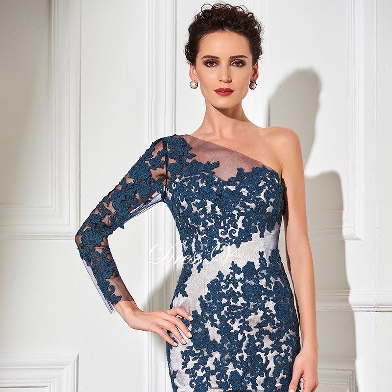 One shoulder dark navy cocktail dress sheath long sleeves knee length appliques formal party dress short cocktail dress