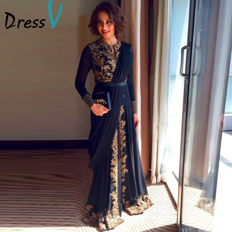 2017 Elegant Black Fancy Abaya Muslim Evening Dress Dubai Moroccan Islamic Embroidery Long Sleeve Arabic evening dress