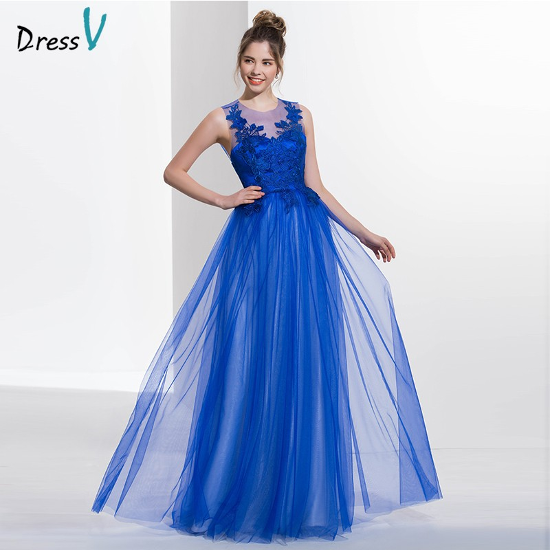 f3f2aa2268 Royal blue scoop neck A-line sexy backless prom dress sleeveless appliques  long floor length