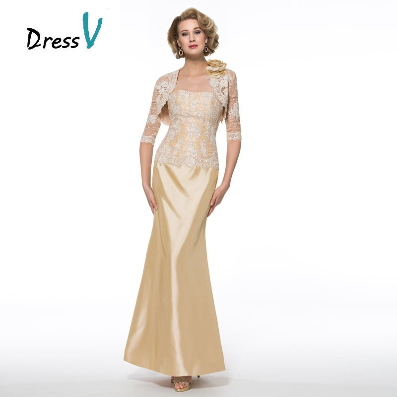 Elegant Plus Size Gold Mother Of The Bride Dresses With Lace Jacket  Strapless Mermaid Long Mother Evening Gowns Custom Made