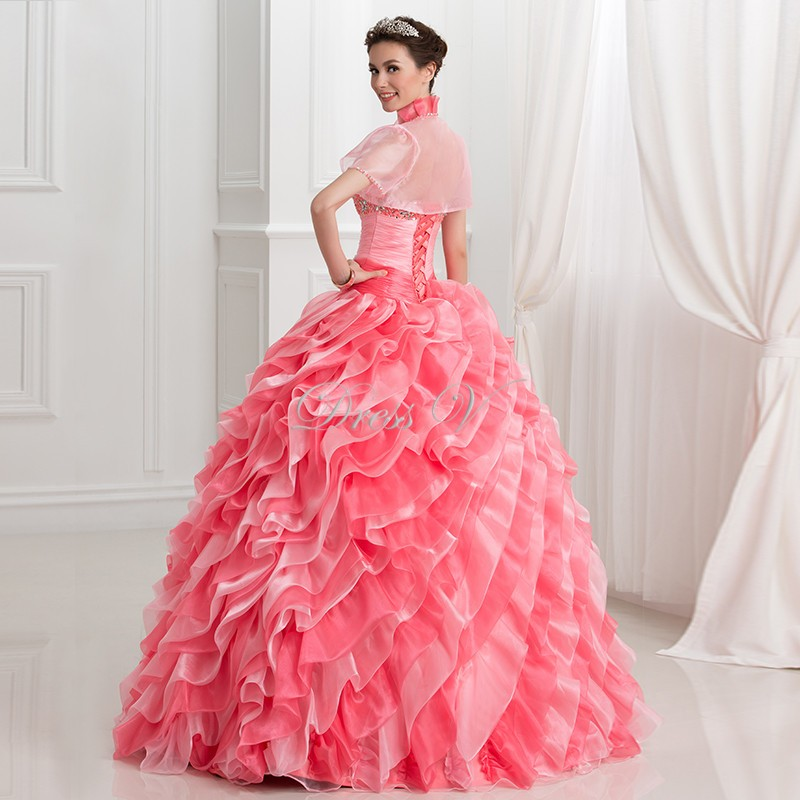 65959c06f02 2017 Watermelon Organza Debut Ball Gown 2 Piece Puffy Quinceanera Dresses  With Short Sleeve Jacket Beaded Sweet 16 Pageant Dress