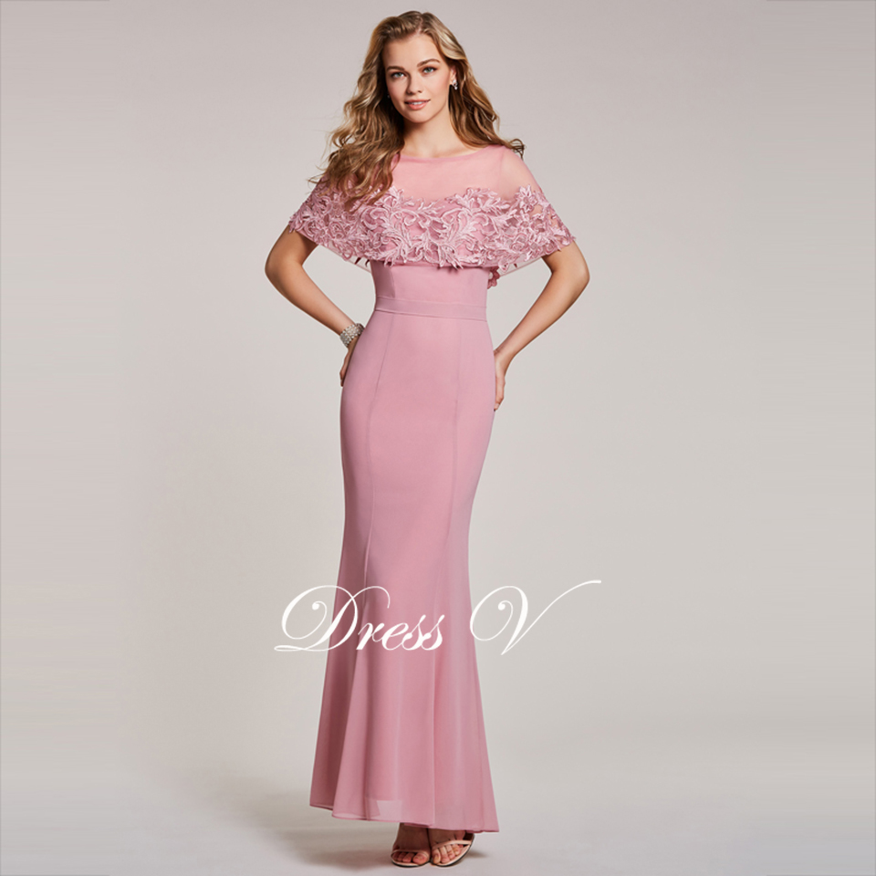 Peach evening dress cheap scoop neck short sleeves mermaid floor length wedding party formal dress trumpet evening dress