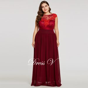 7055c5c1fbee Burgundy scoop neck plus size evening dress elegant a line zipper-up  wedding party formal