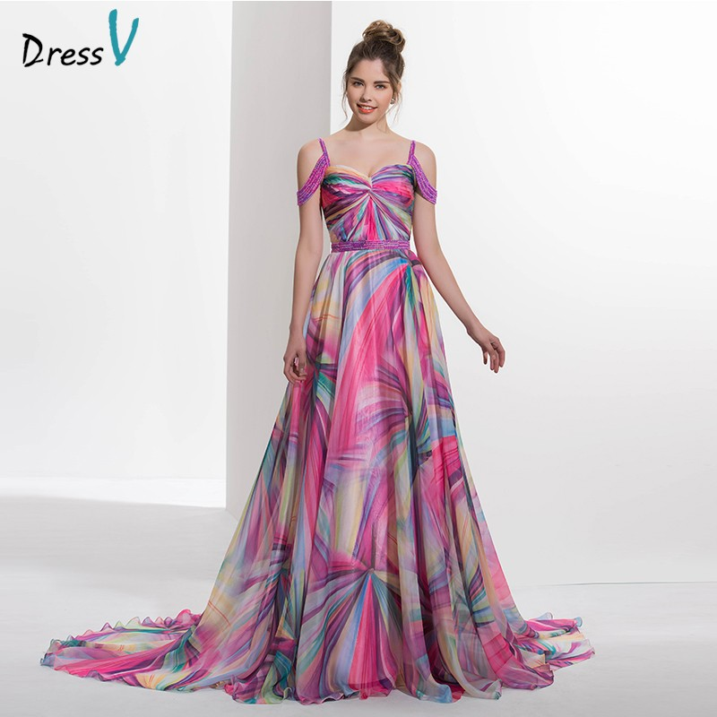 2017 Spaghetti Straps A line printed long prom dress beading zipper up off the shoulder formal evening dress prom dress