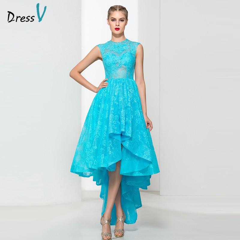 Ice blue A line ruffles lace asymmetry prom dress jewel neck high low zipper up wedding party dress elegant prom dress