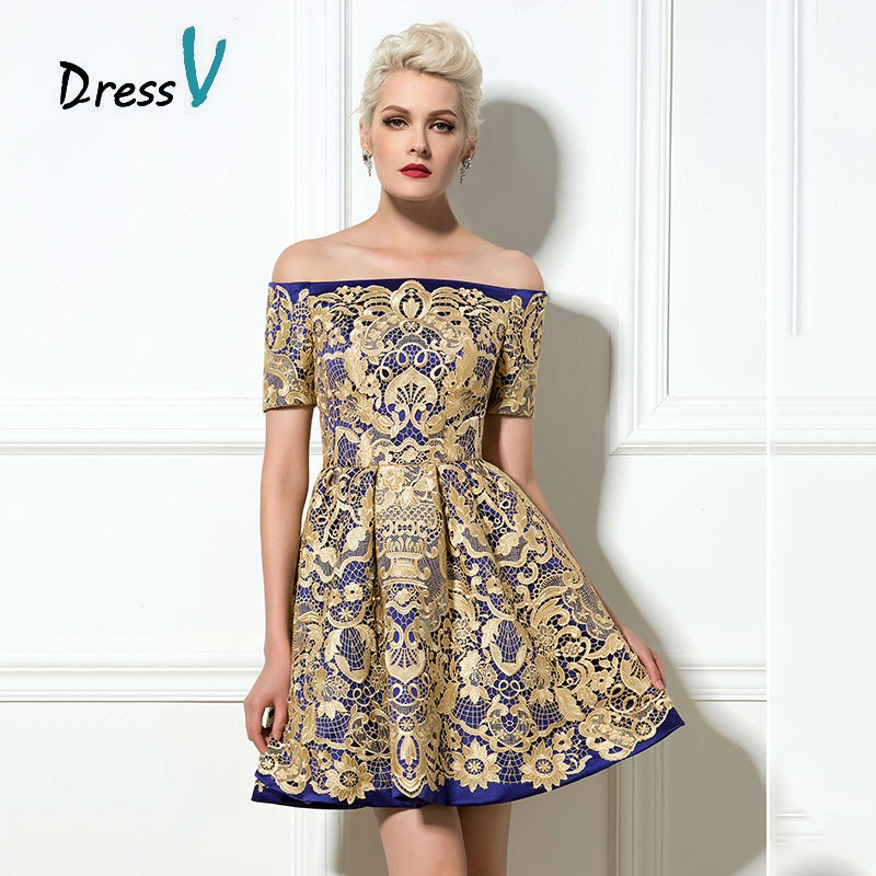 Custom Made Off the Shoulder Lace Short Cocktail Dress A Line ShortMini lace cocktail dress Girls Party Dress 2017
